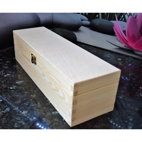 Wooden Wine Box 1 Bottle With Lid and Decorative Clasp