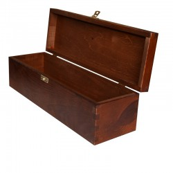 Brown Wooden Wine Box 1 Bottle  With Lid and Decorative Clasp