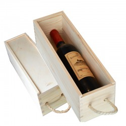Wooden Wine Box 1 Bottle Case Holder With Lid and Decorative Clasp