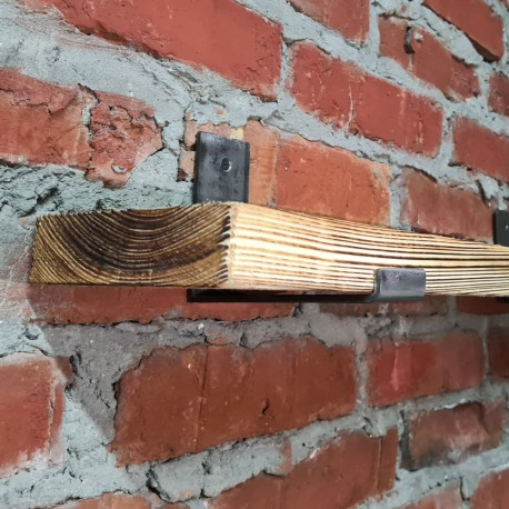 Rustic Wooden Shelf Board-Oiled Pine 15,5 x120 scorched handmade
