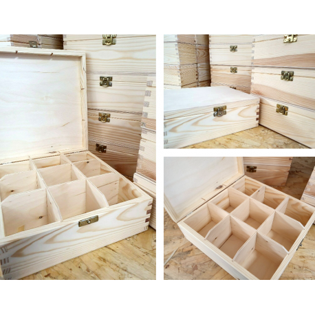 Wooden Tea Box 9 Sections